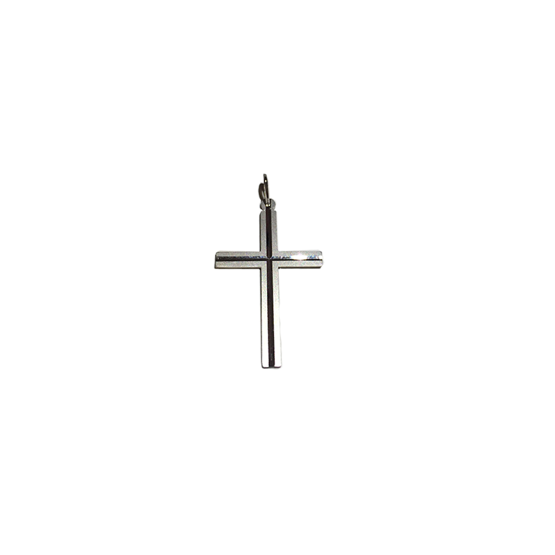 Pingente Cruz Palito Ouro Branco Fosco - Valdugas Joalheria 9962a0bfb5
