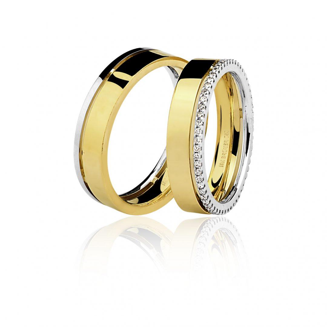 7bcc8faff0ec2 Aliança em Ouro Amarelo e Branco com Diamantes - Valdugas Joalheria
